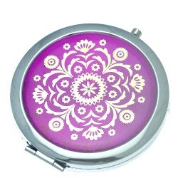 ASTRID 70mm Silver tone Amethyst & Gold tone Compact Mirror