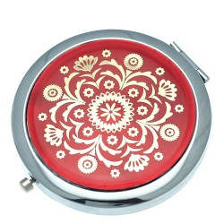ASTRID 70mm Silver tone Red & Gold tone Compact Mirror