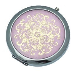 BEATRICE 70mm Silver tone Pink & Gold tone Compact Mirror
