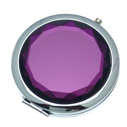 CASSANDRA 70mm Silver tone Amethyst Faceted Crystal Compact Mirror