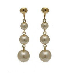 Aibreann Gold Plated Cream glass pearl Drop Clip On earrings