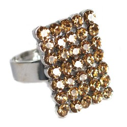 Denver Silver tone Yellow Adjustable Finger Ring