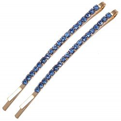 ANTEROS Gold Pair Blue Crystal Hair Clips