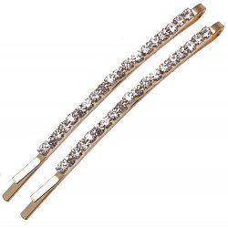 ANTEROS Gold tone Pair Clear Crystal Hair Clips