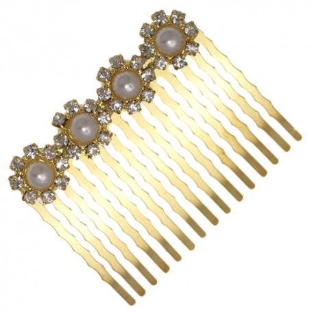 DIANTHUS Gold tone Crystal faux Pearl Hair Comb