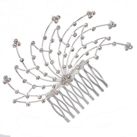 Aster Silver tone Crystal Hair Comb