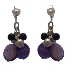 CALENDRE Silver plated Purple Disks and Beads Clip On Earrings