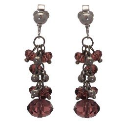 ACELINE Silver tone Amethyst Crystal Clip On Earrings