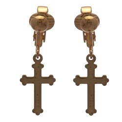 BRIGID Gold plated Cross Clip On Earrings