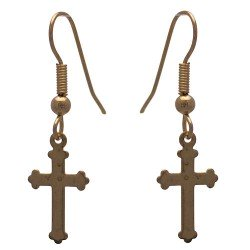 BRIGID Gold tone Cross Hook Earrings