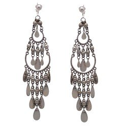 BELDA Silver Beads and Disks Clip On Earrings