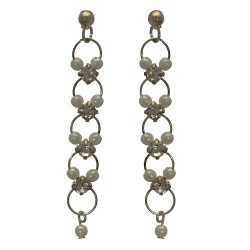 Nastasia Long Silver tone Post Earrings