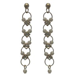 Nastasia Long Silver Post Earrings