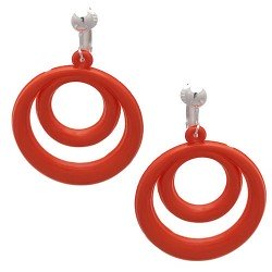 Amiela Silver Orange Drop Clip On Earrings