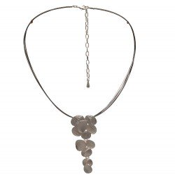 ALIYA Silver tone Multi Wire Pendant Choker Necklace
