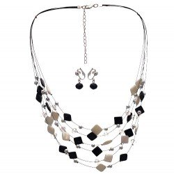 DESARAE Silver Black and White Clip On Earring Necklace Set