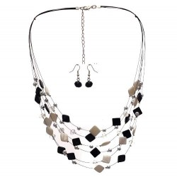 DESARAE Silver Black and White Hook Earring Necklace Set