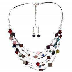 DESARAE Silver tone Multi Coloured Hook Earring Necklace Set