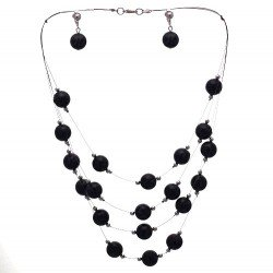 DIANDRA Silver tone Black/Grey Clip On Earring Necklace Set
