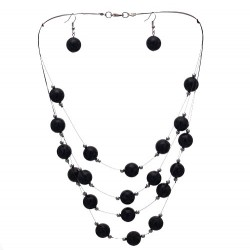 DIANDRA Silver tone Black Hook Earring Necklace Set