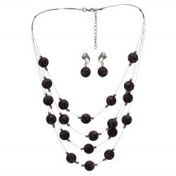 DIANDRA Silver tone Purple Clip On Earring Necklace Set