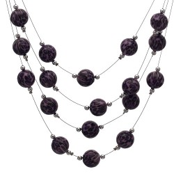 DIANDRA Silver tone Purple Hook Earring Necklace Set