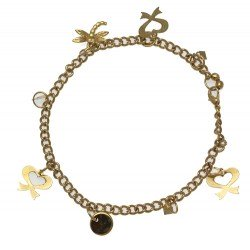IKSHU Gold Plated Dragonfly Bow and Disk Ankle Chain