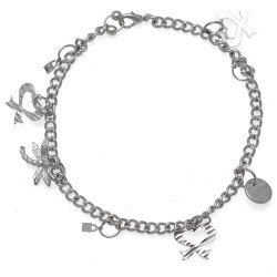 IKSHU Silver Plated Dragonfly Bow and Disk Ankle Chain