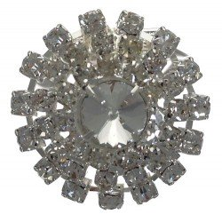 ANTHENIS Silver tone Crystal Scarf Clip/Brooch