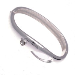 Colbie Silver tone Crystal Bangle