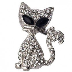 ASTRAL Silver tone Crystal Cat Brooch