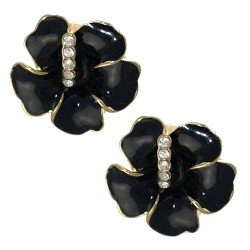 AMANDINE Gold tone Black Crystal Clip On Earrings