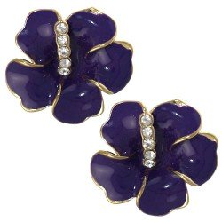 AMANDINE Gold tone Purple Crystal Clip On Earrings