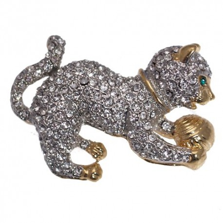 BENJY Gold and Silver Plated Cat and Ball Brooch