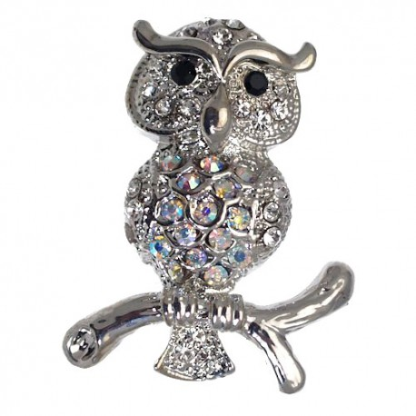 HEDWIG Silver plated Crystal Owl Brooch
