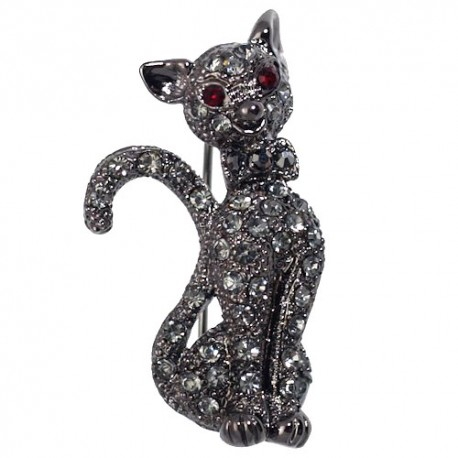 SOOTY Hematite Crystal Cat Brooch