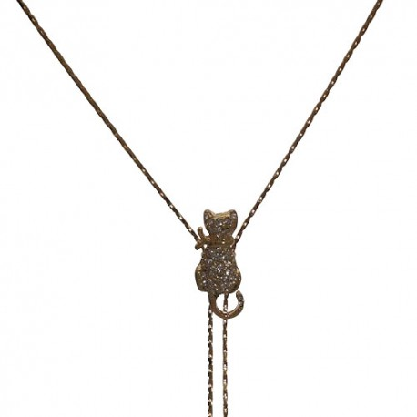 CAT Gold Plated Crystal Slider Necklace