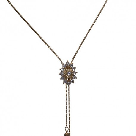 IMMACOLATA Gold Plated Crystal Slider Necklace