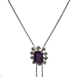 KATHLYN Silver Plated lilac Crystal Slider Necklace