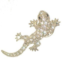 LIZ Silver Plated Crystal Lizard Brooch Pin