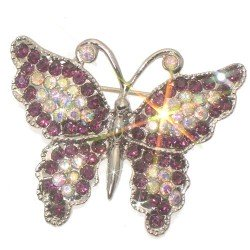 ADOLPHA Silver Plated Amethyst and AB Crystal Butterfly Brooch