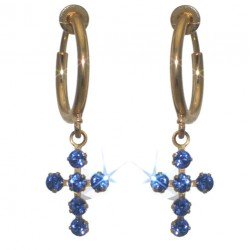 LA CROIX CERCEAU Gold Plated Sapphire Blue Crystal Cross Clip On Earrings