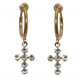 LA CROIX CERCEAU Gold Plated Clear Crystal Cross Clip On Earrings