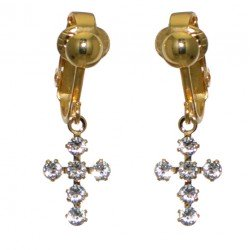 LA CROIX Gold Plated Clear Cross Clip On Earrings