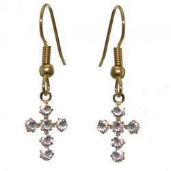 LA CROIX Gold Plated Clear Crystal Cross Hook Earrings