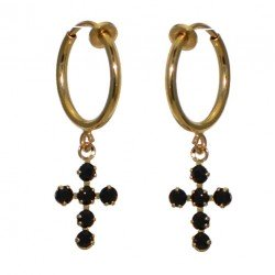 LA CROIX CERCEAU Gold Plated Jet Black Crystal Cross Clip On Earrings