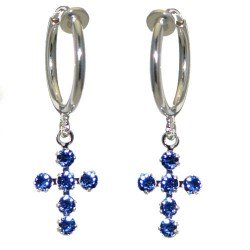 LA CROIX CERCEAU Silver Plated Swarovski Sapphire Crystal Cross Clip On Earrings