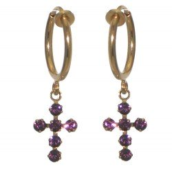 LA CROIX CERCEAU Gold Plated Amethyst Purple Crystal Clip On Earrings