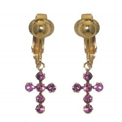 LA CROIX Gold Plated Amethyst Purple Crystal Clip On Earrings