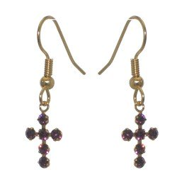 LA CROIX Gold Plated Amethyst Purple Crystal Hook Earrings